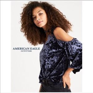 American Eagle Outfitters| Velvet Off Shoulder Top